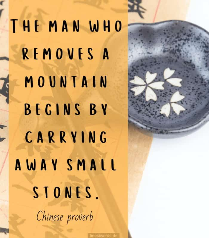 The man who removes a mountain begins by carrying away small stones. -Chinese proverb