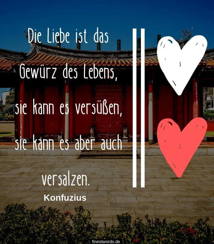 Die Liebe ist das Gewürz des Lebens, sie kann es versüßen, sie kann es aber auch versalzen. -Konfuzius