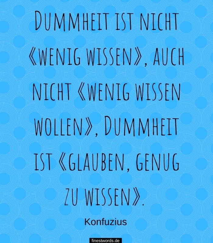 Dummheit ist nicht «wenig wissen», auch nicht «wenig wissen wollen», Dummheit ist «glauben, genug zu wissen». -Konfuzius