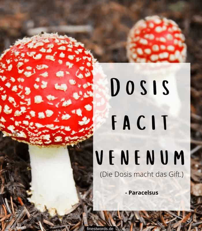 Dosis facit venenum - Die Dosis macht das Gift. - Paracelsus