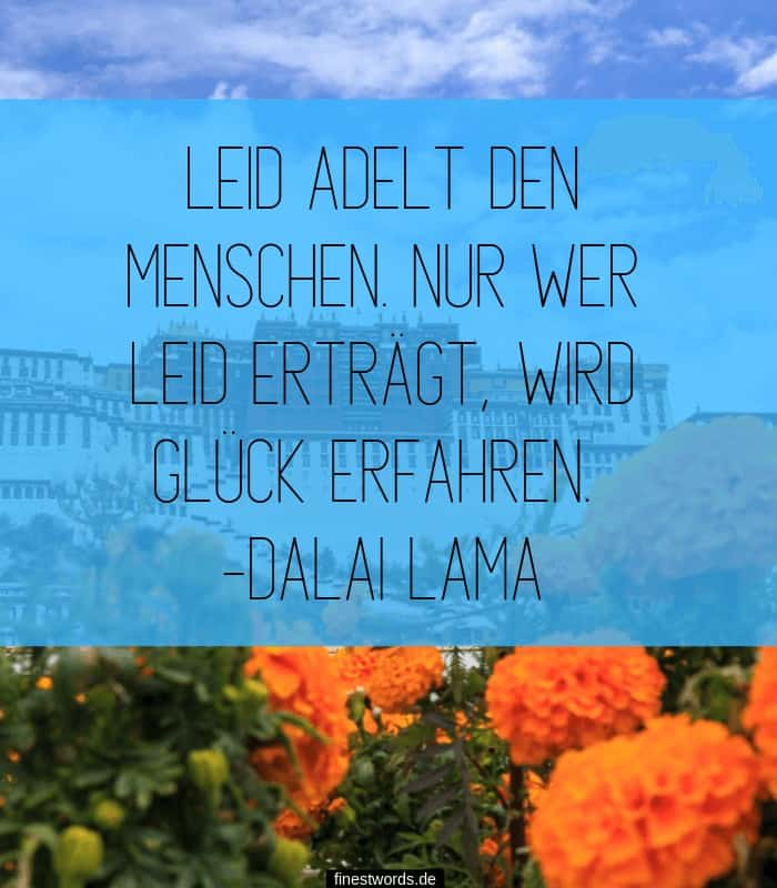 Leid adelt den Menschen. Nur wer Leid erträgt, wird Glück erfahren. -Dalai Lama