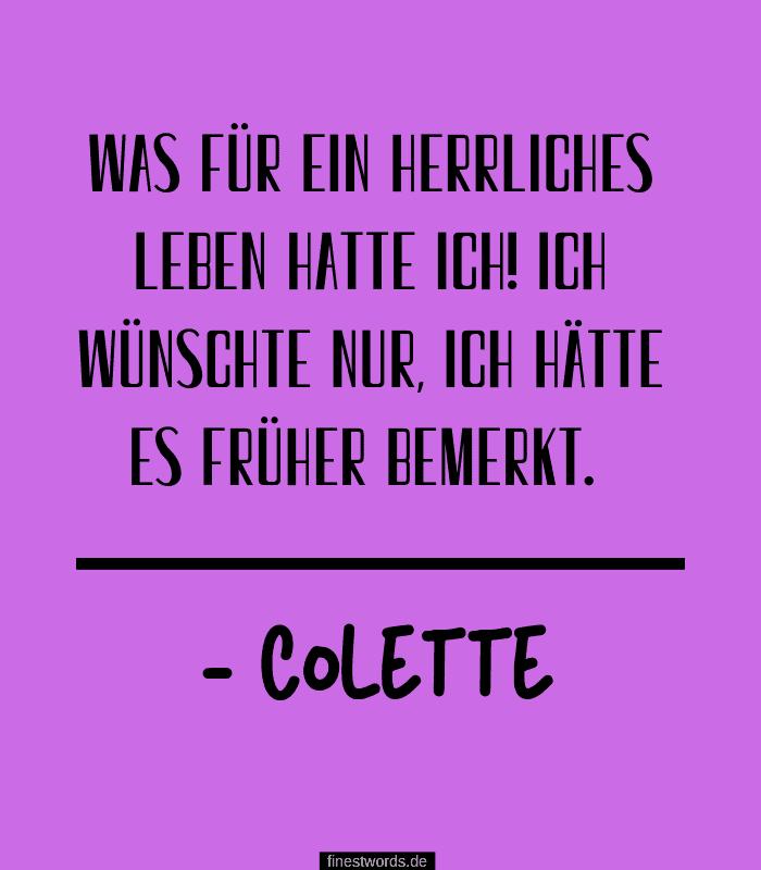 Was für ein herrliches Leben hatte ich! Ich wünschte nur, ich hätte es früher bemerkt. -Colette