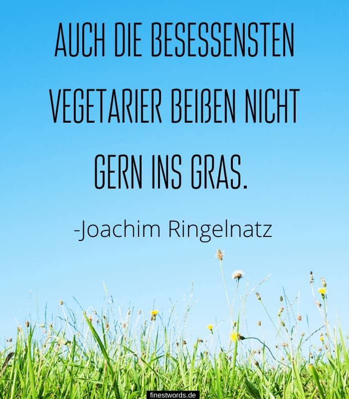 Auch die besessensten Vegetarier beißen nicht gern ins Gras. -Joachim Ringelnatz