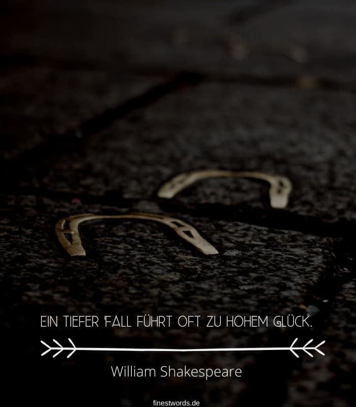 Ein tiefer Fall führt oft zu hohem Glück. -William Shakespeare