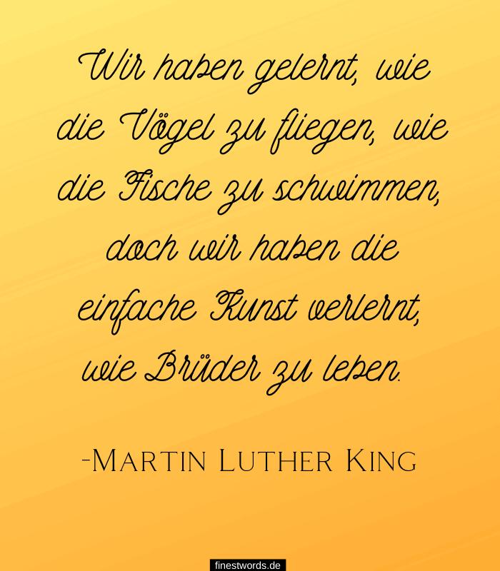 Wir haben gelernt, wie die Vögel zu fliegen, wie die Fische zu schwimmen, doch wir haben die einfache Kunst verlernt, wie Brüder zu leben. -Martin Luther King
