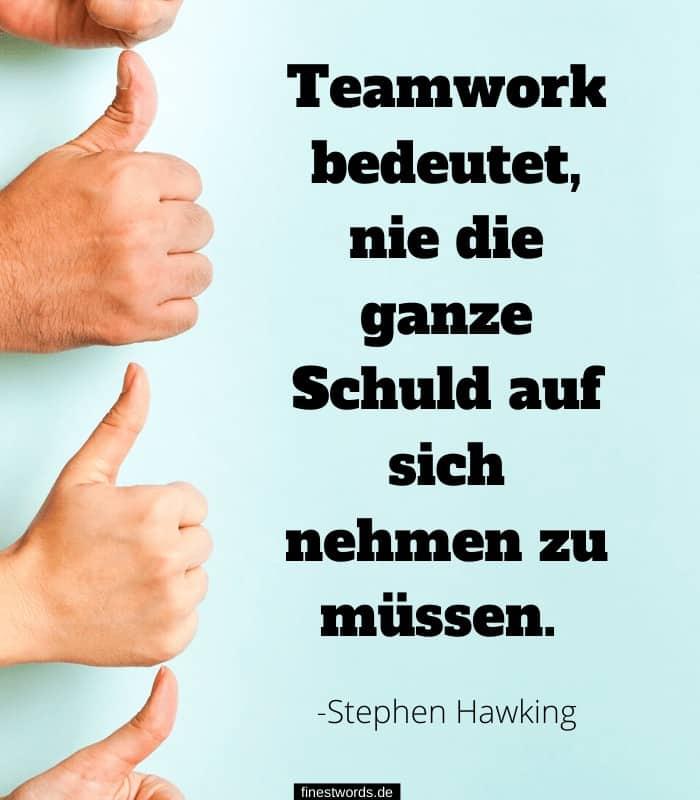 Teamwork bedeutet, nie die ganze Schuld auf sich nehmen zu müssen. -Stephen Hawking