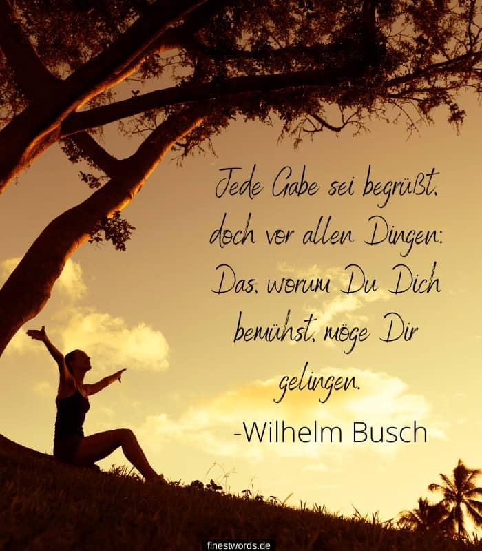 Jede Gabe sei begrüßt, doch vor allen Dingen: Das, worum Du Dich bemühst, möge Dir gelingen. -Wilhelm Busch