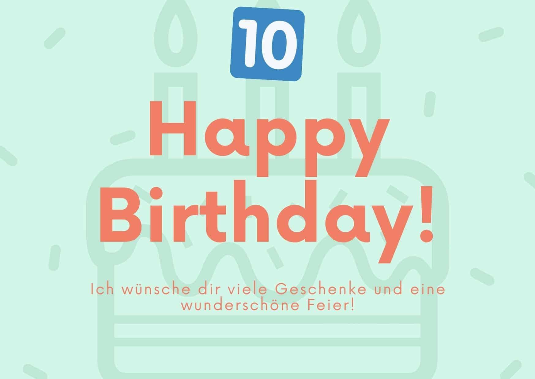 Glückwünsche zum 10. Geburtstag von der Tante