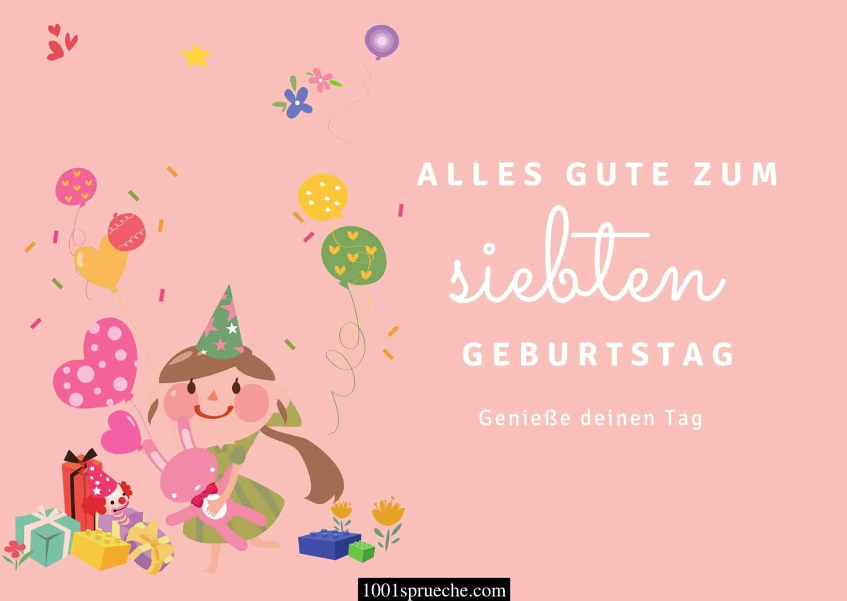 Glückwünsche zum 7. Geburtstag für Mädchen