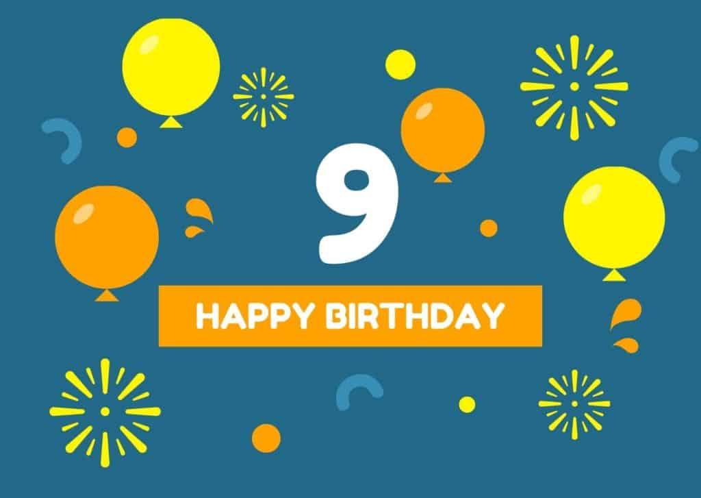 Kurze Glückwünsche zum 9. Geburtstag