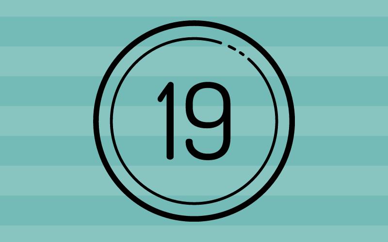 Glückwünsche zum 19. Geburtstag