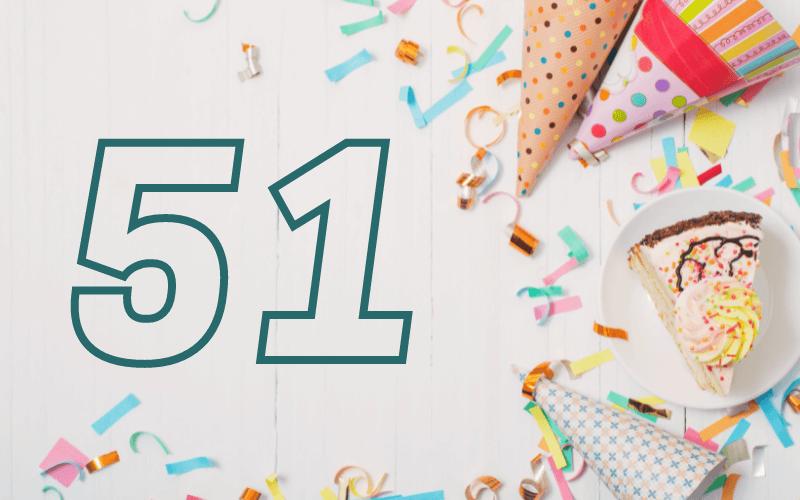 Glückwünsche zum 51. Geburtstag