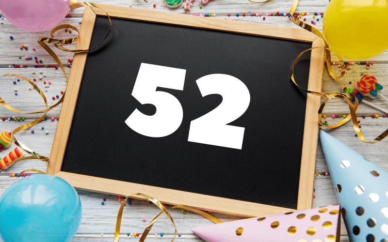 Glückwünsche zum 52. Geburtstag