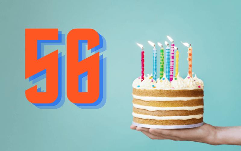 Glückwünsche zum 56. Geburtstag