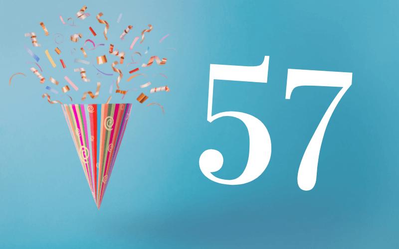 Glückwünsche zum 57. Geburtstag